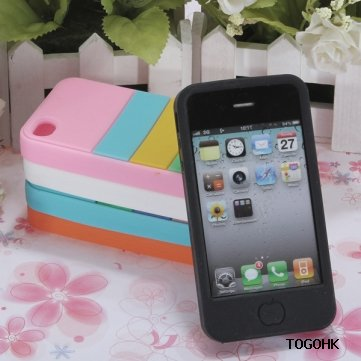 Wholesale Rainbow Stripe Design Silicone Gel Soft Case Cover For iPhone 4 4G 4S