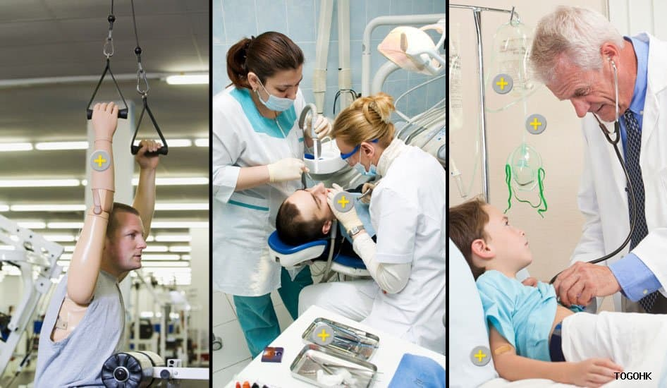 Man with prosthetic arm, denstist and hygenist in dental office, young boy with doctor